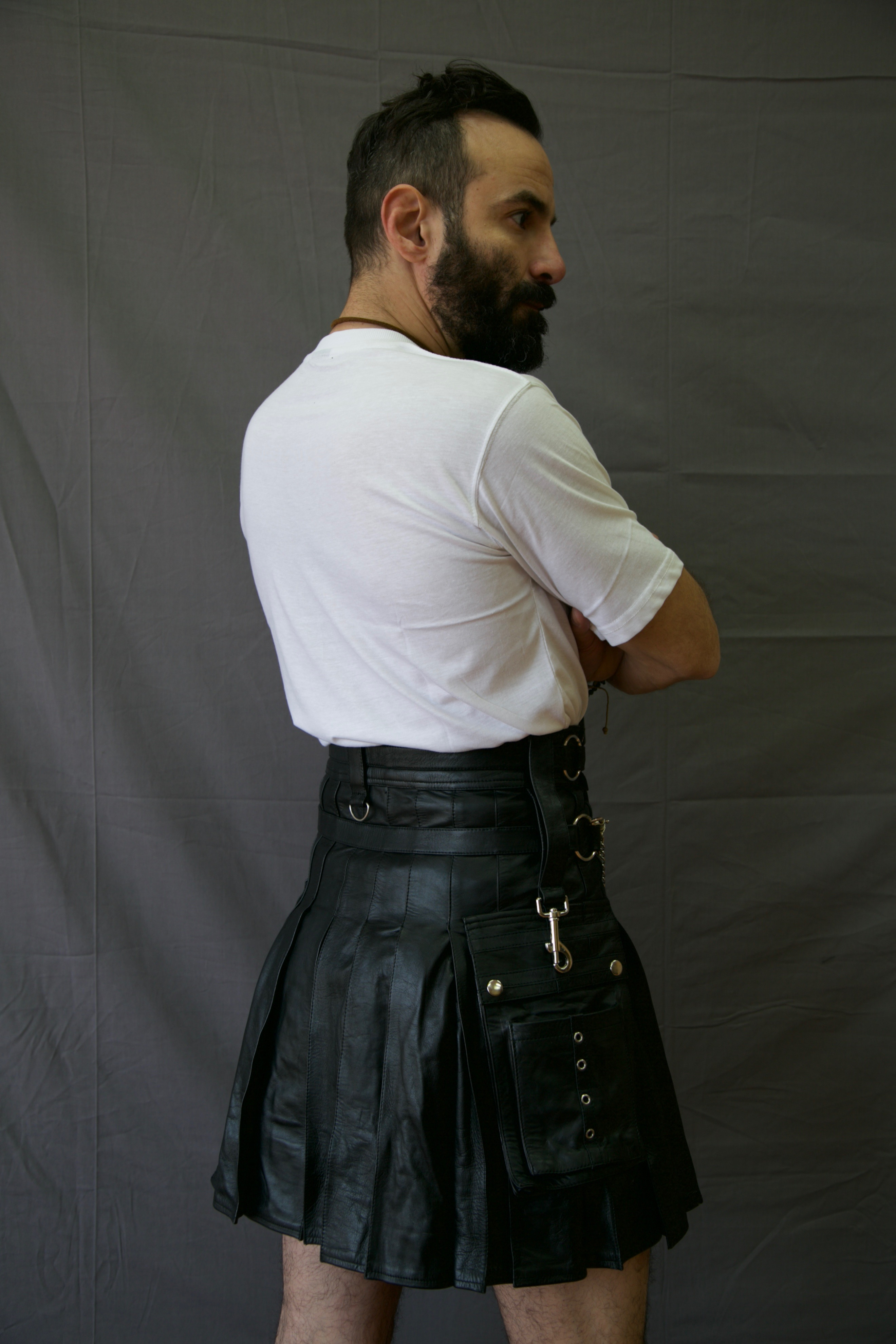 Casual Leather Kilt for Sexy Men Back