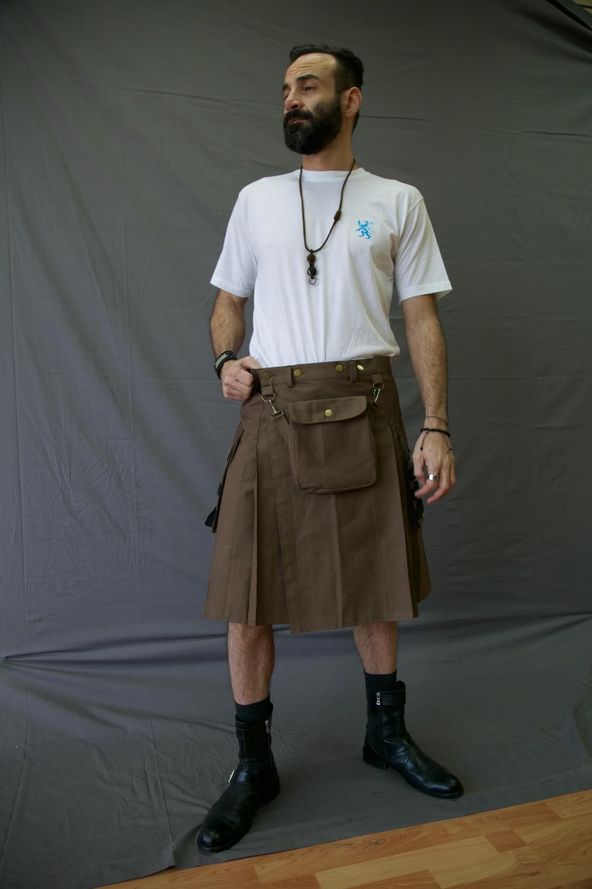 Fashion Utility Kilt-long-man-front-side