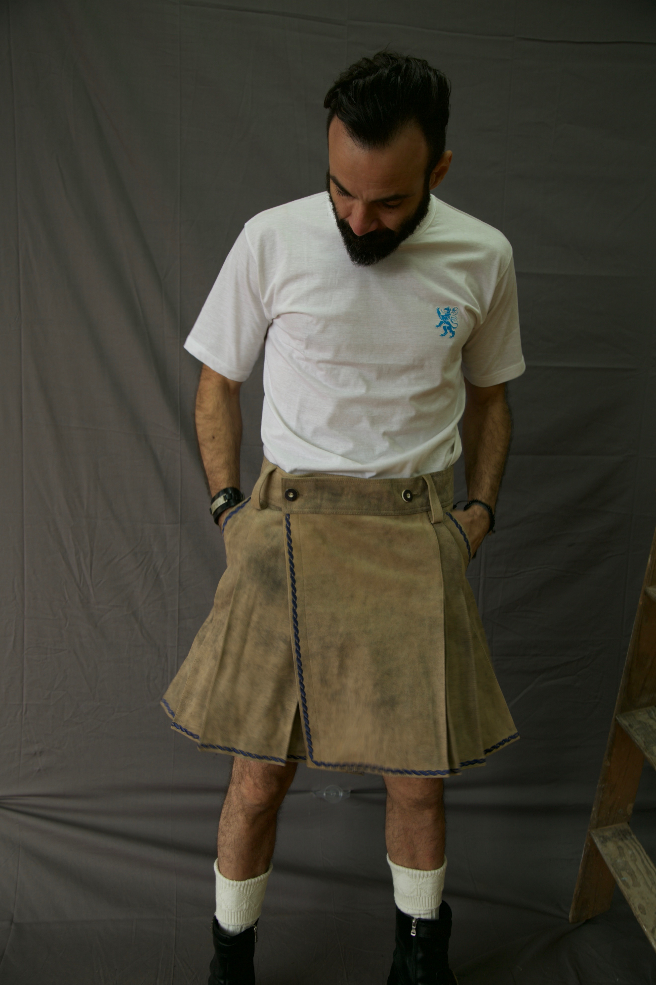 Bavarian Leather Kilt Front