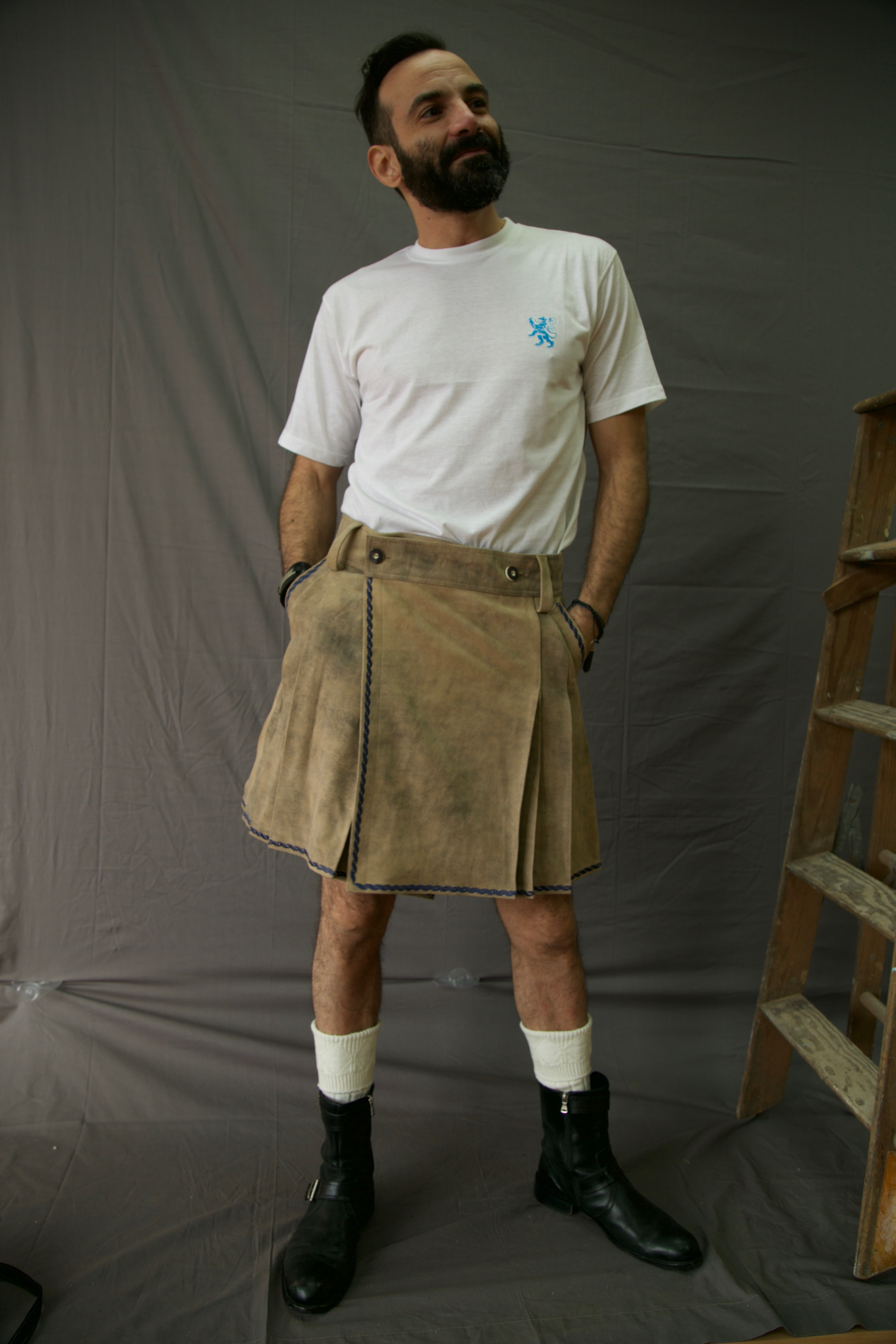 Bavarian Leather Kilt Front-Side
