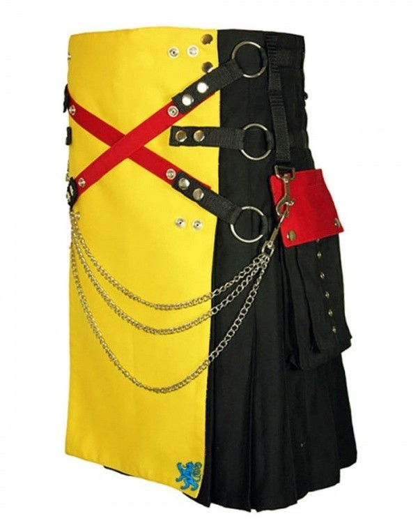 Fashion Kilt With Multi Color Apron And Pockets