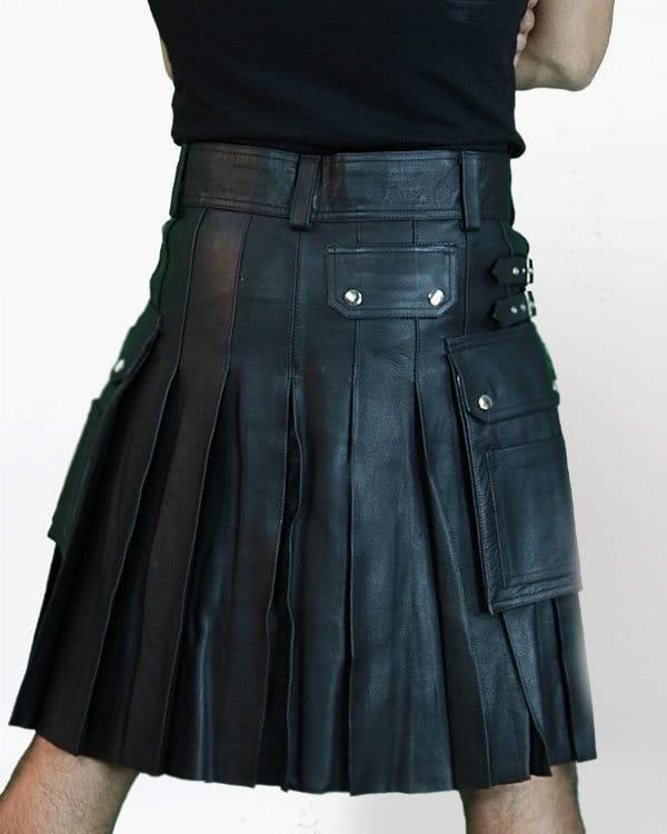 Leather Kilt With Twin Cargo Pockets 2