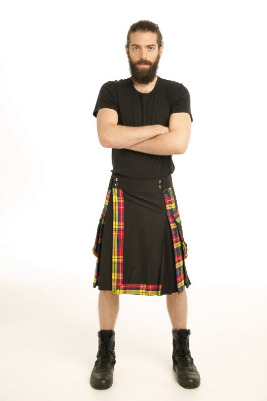 Black With Buchnan Tartan Kilt