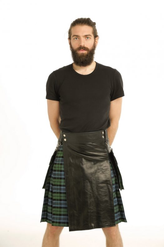 Leather Hybrid Kilt- Tartan Box Pleated