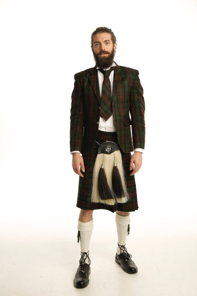 Deluxe Argyle Tartan Jacket and Kilt Outfit Front
