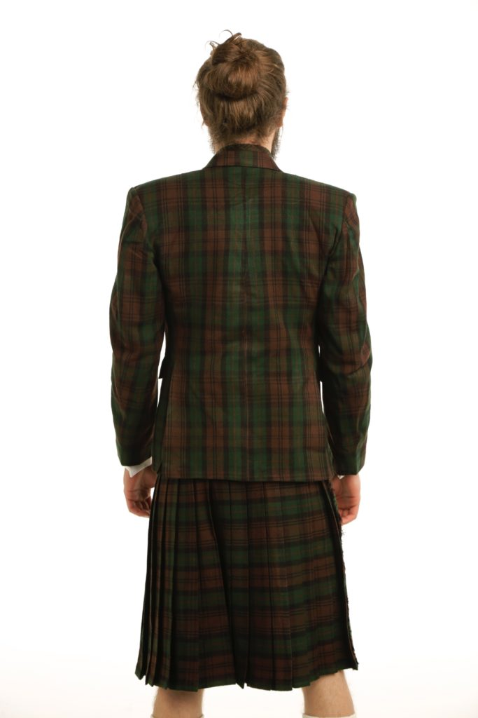 Deluxe Argyle Tartan Jacket and Kilt Outfit Back