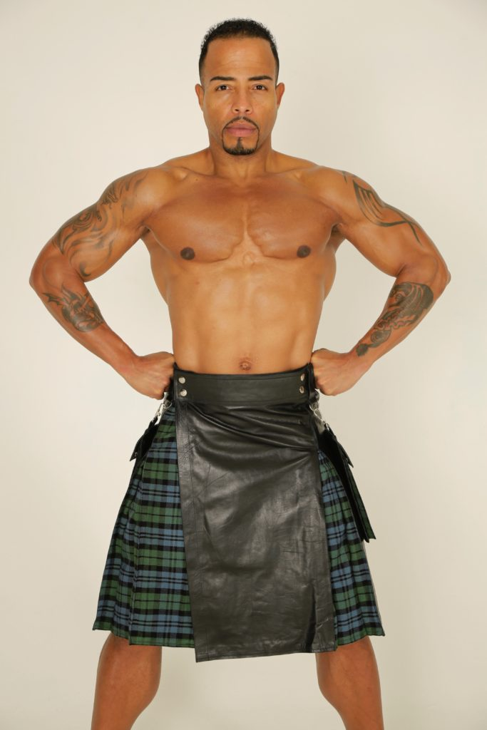 Leather Hybrid Kilt Tartan Box Pleated-Front