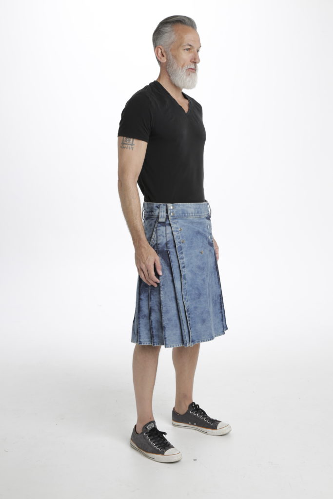 StoneWash Blue Denim Kilt right