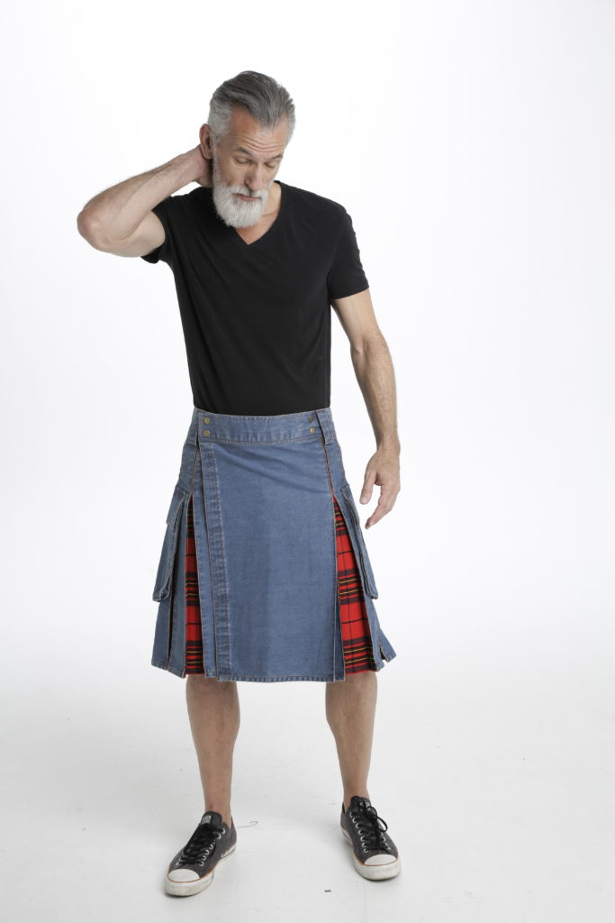 Washed Denim Tartan Hybrid Kilt front