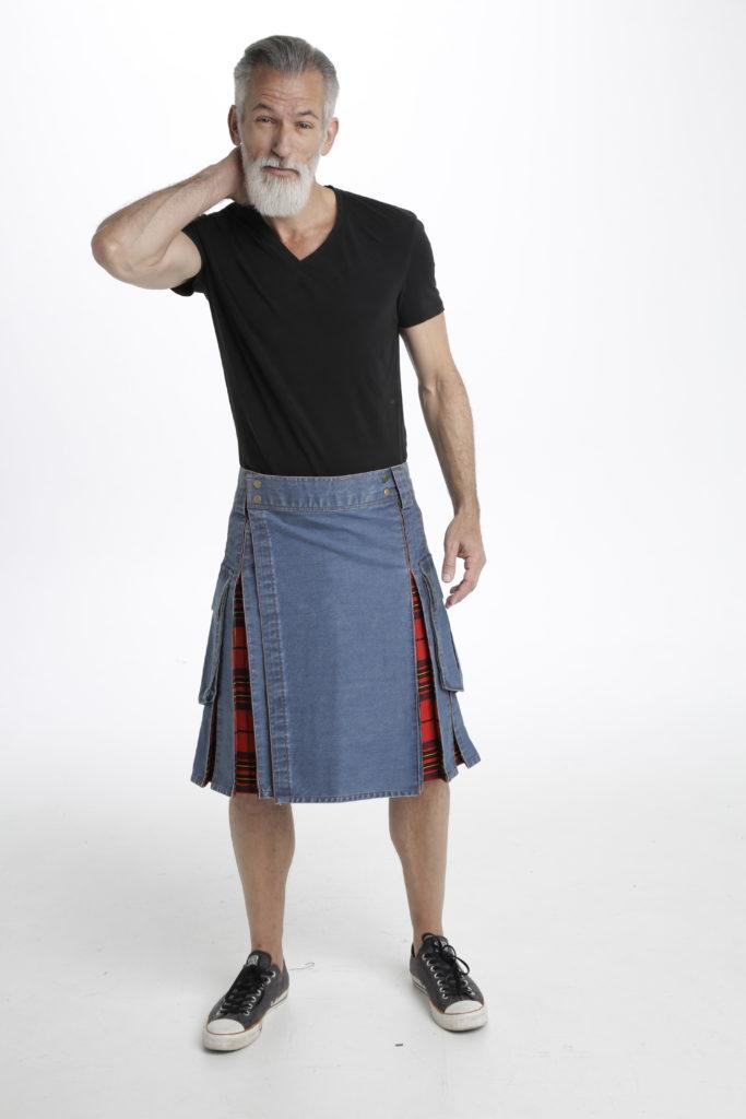 Washed Denim Tartan Hybrid Kilt feature