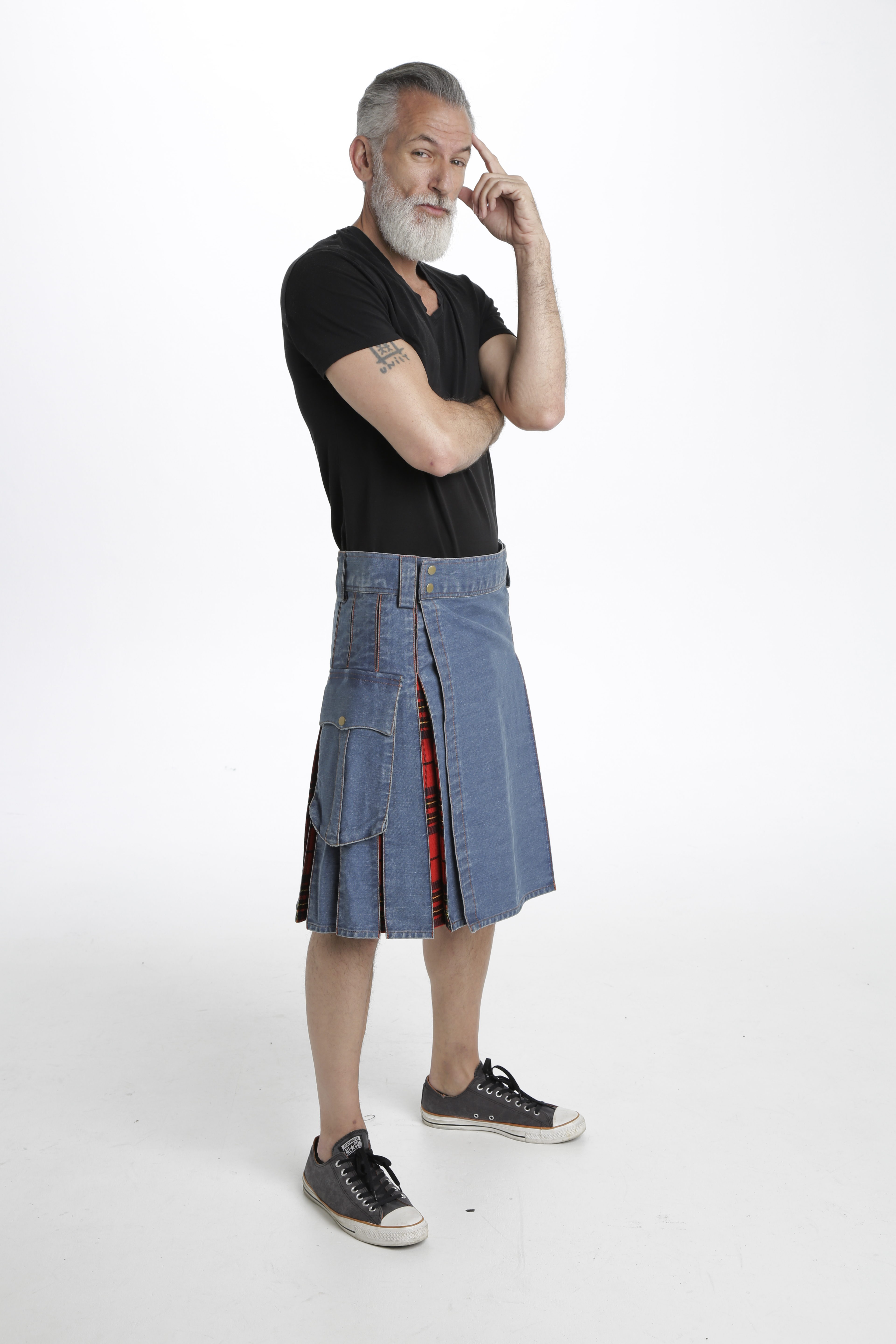 Washed Denim Tartan Hybrid Kilt right