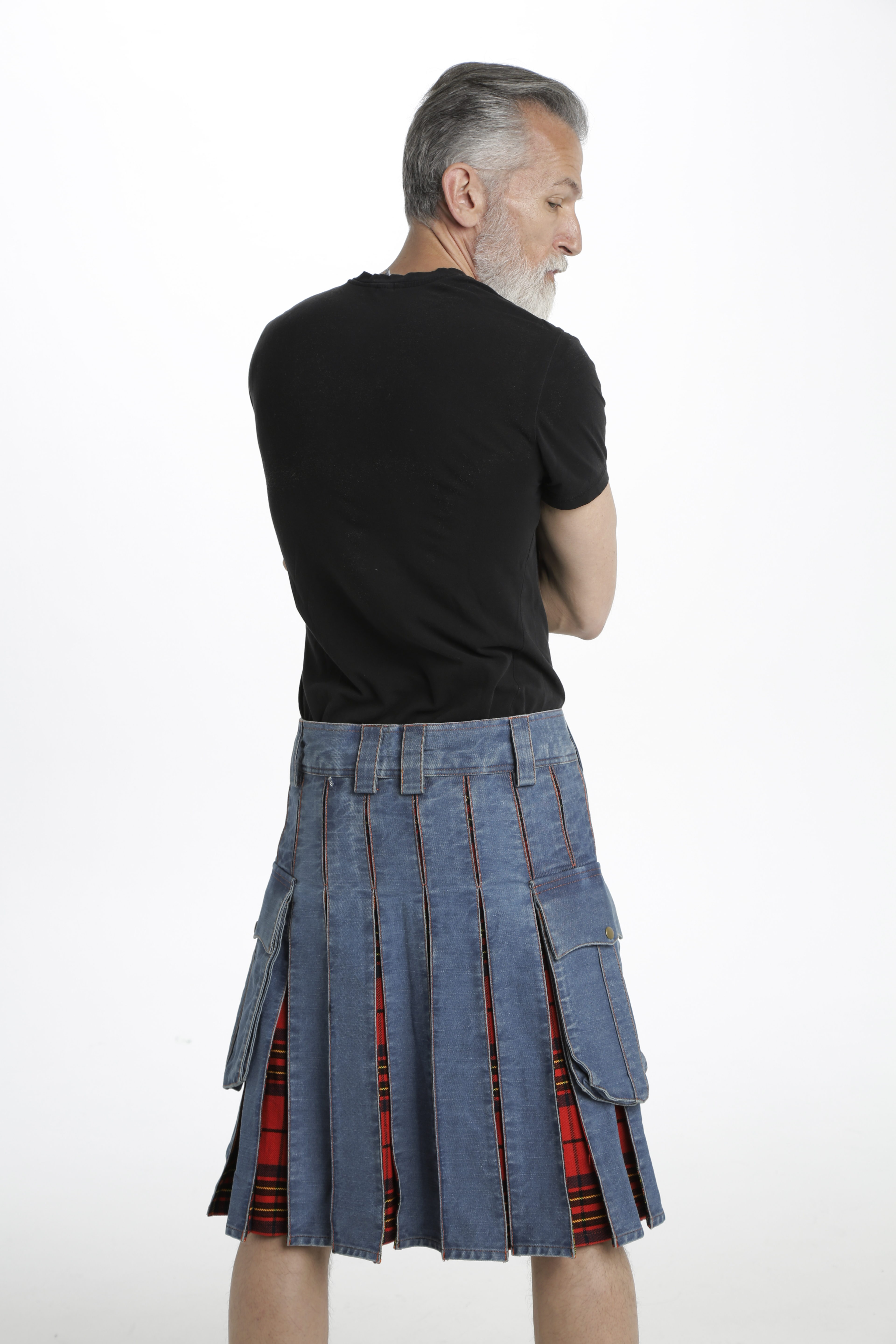 Washed Denim Tartan Hybrid Kilt back