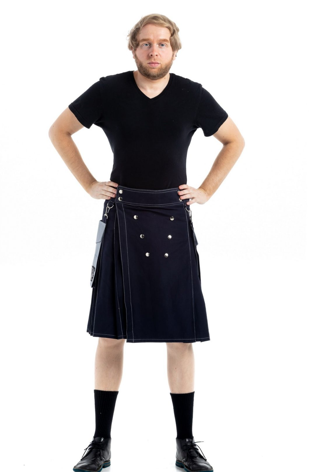 Contrast Pocket Modern Kilt For Royal Men