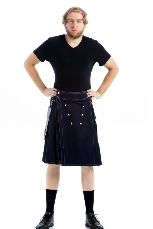 Contrast Pocket Modern Kilt For Royal Men