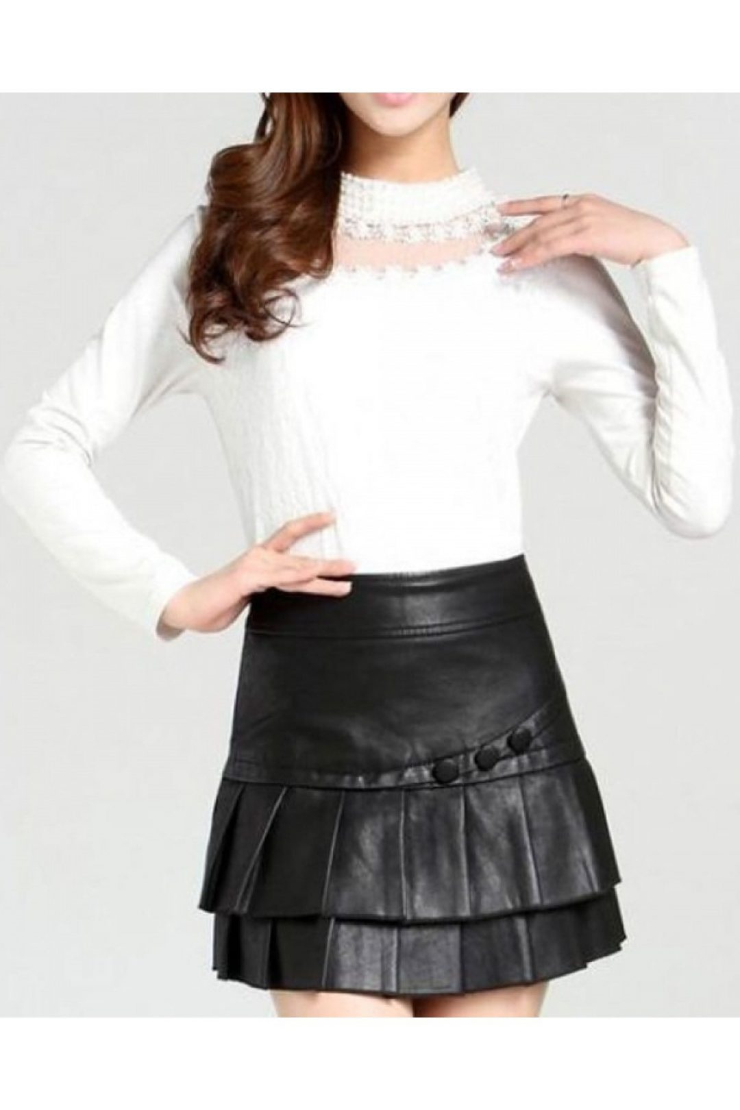 Leather Mini Skirt with Pleats