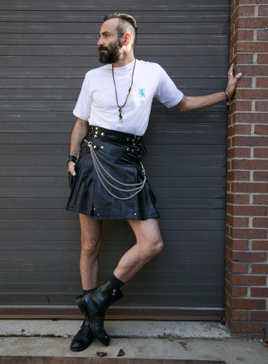 Casual Black Leather Kilt For Sexy Men