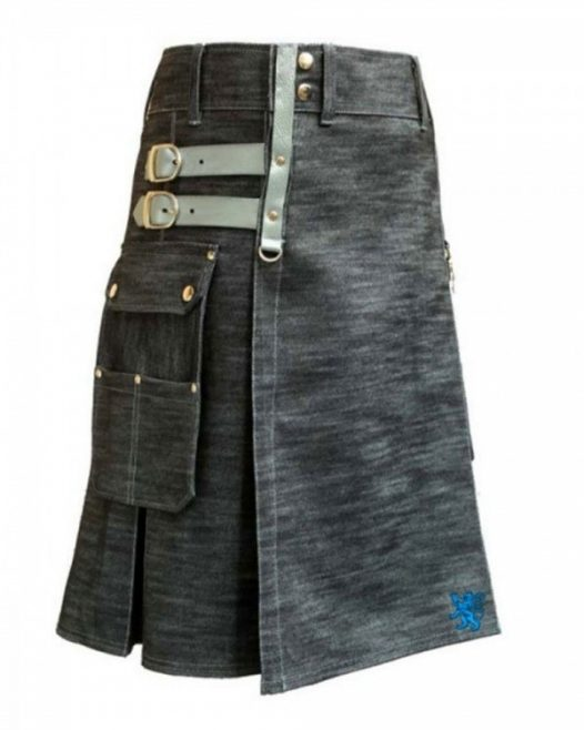 Denim Utility Kilt With Silver Straps