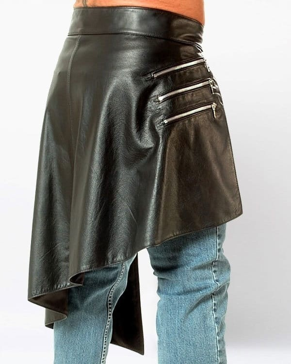 Steampunk Leather Kilt with Zipped Pockets
