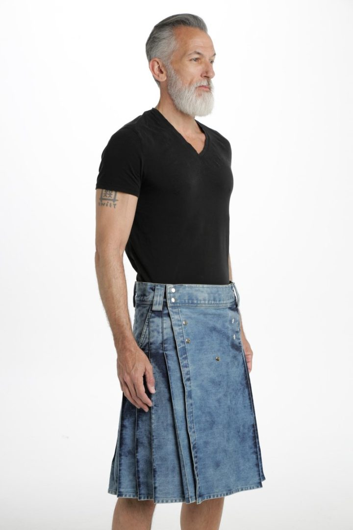 StoneWash Blue Denim Kilt