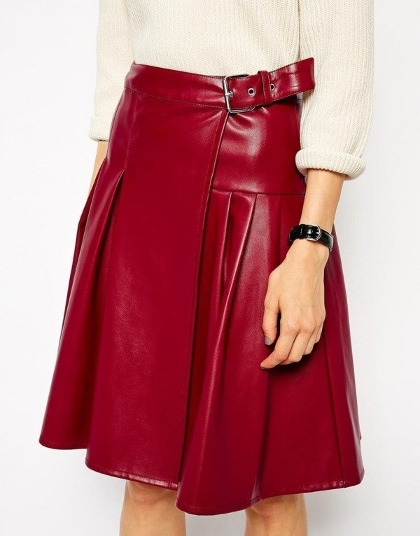 Skirt with Wrap in Leather