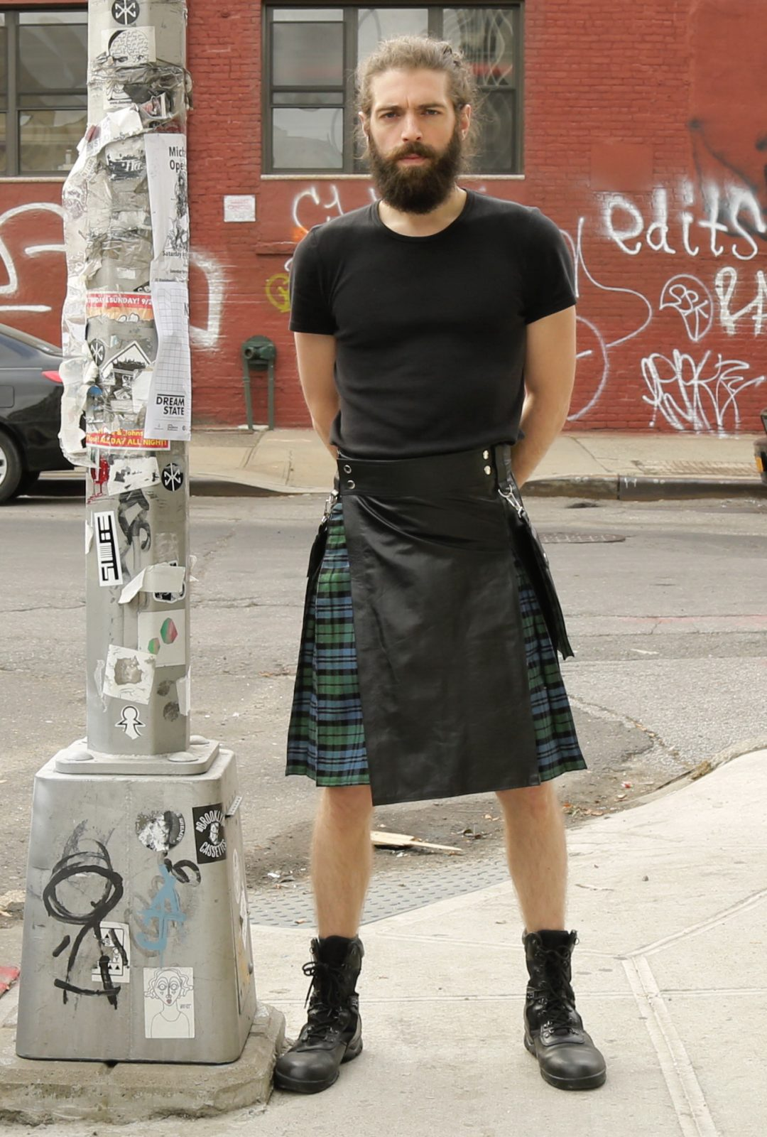 Leather Hybrid Kilt – Tartan Box Pleated