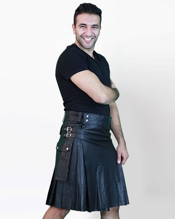 Leather Kilt with Twin Cargo Pockets-Rightside
