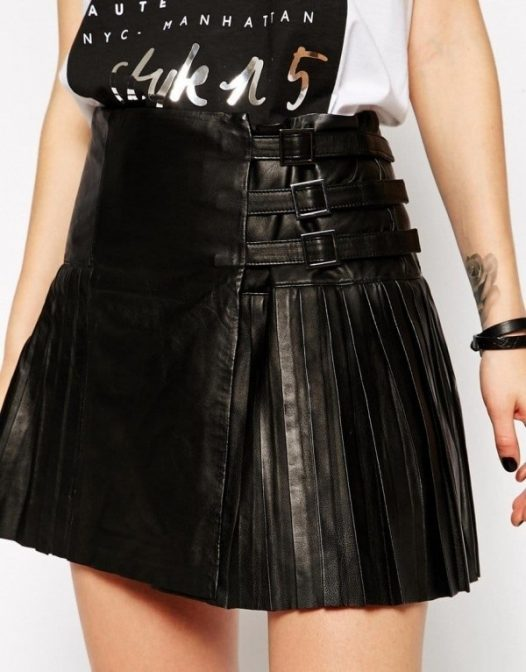 Mini Leather Skirt With Multi Side Straps