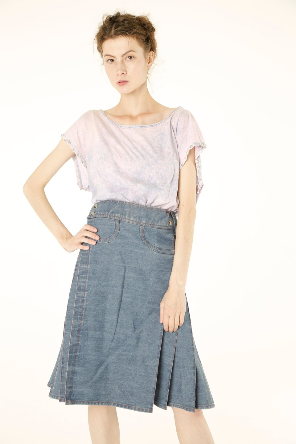 Women Denim Long Kilt front
