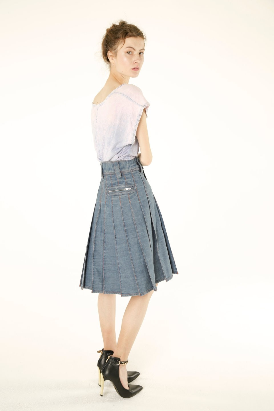 Women Denim Long Kilt back