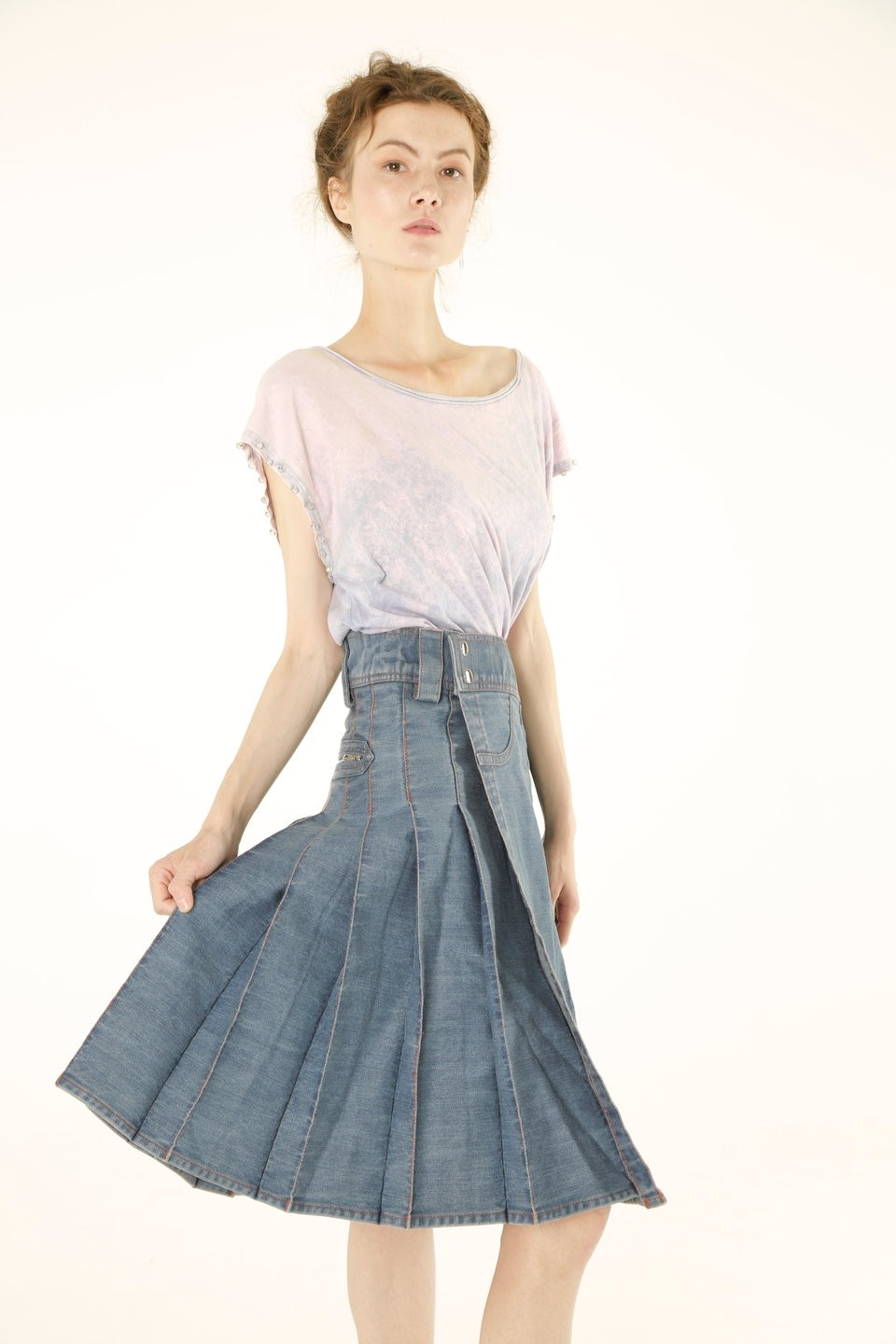Women Denim Long Kilt right