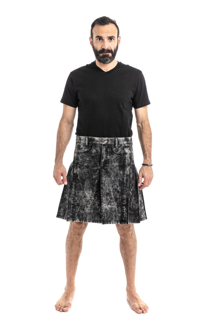 WASHED DENIM KILT-front