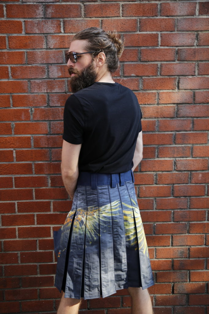 Printed Kilt for Fashionable Men-back