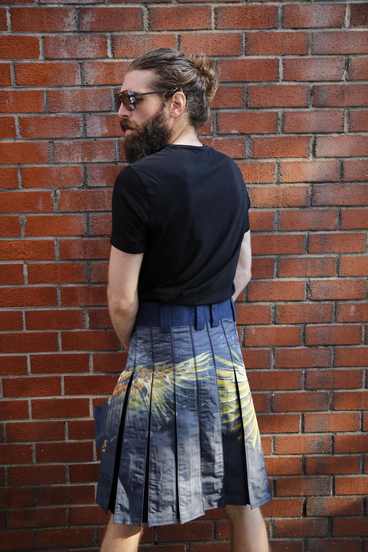 Printed Kilt for Fashionable Men-back