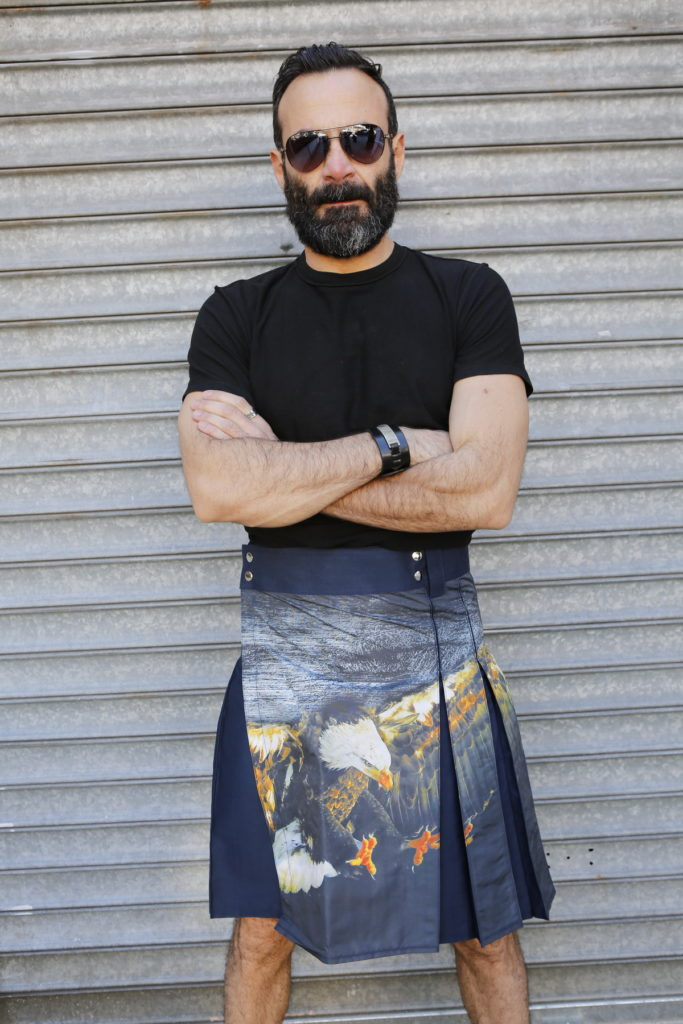 Printed Kilt for Fashionable Men-front