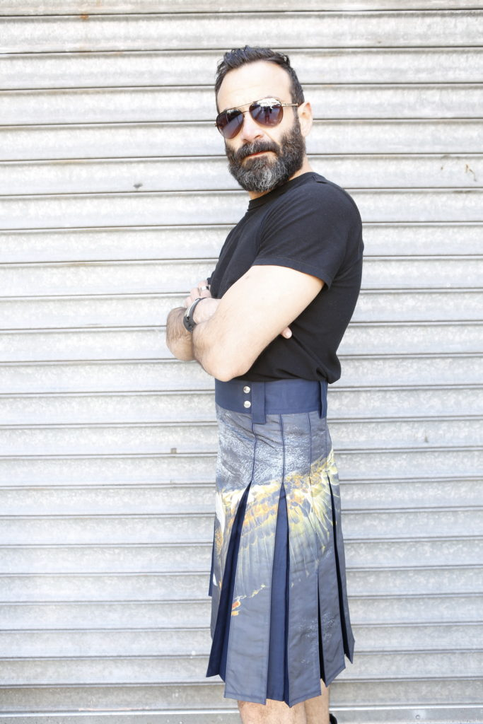 Printed Kilt for Fashionable Men-left