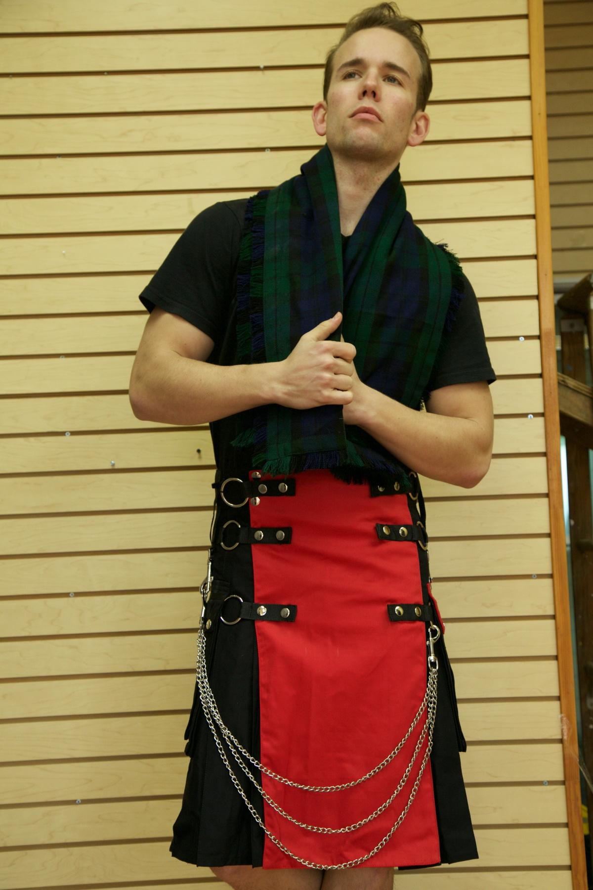 Fashion Kilt with Multi Color Apron & Pockets-hand fold