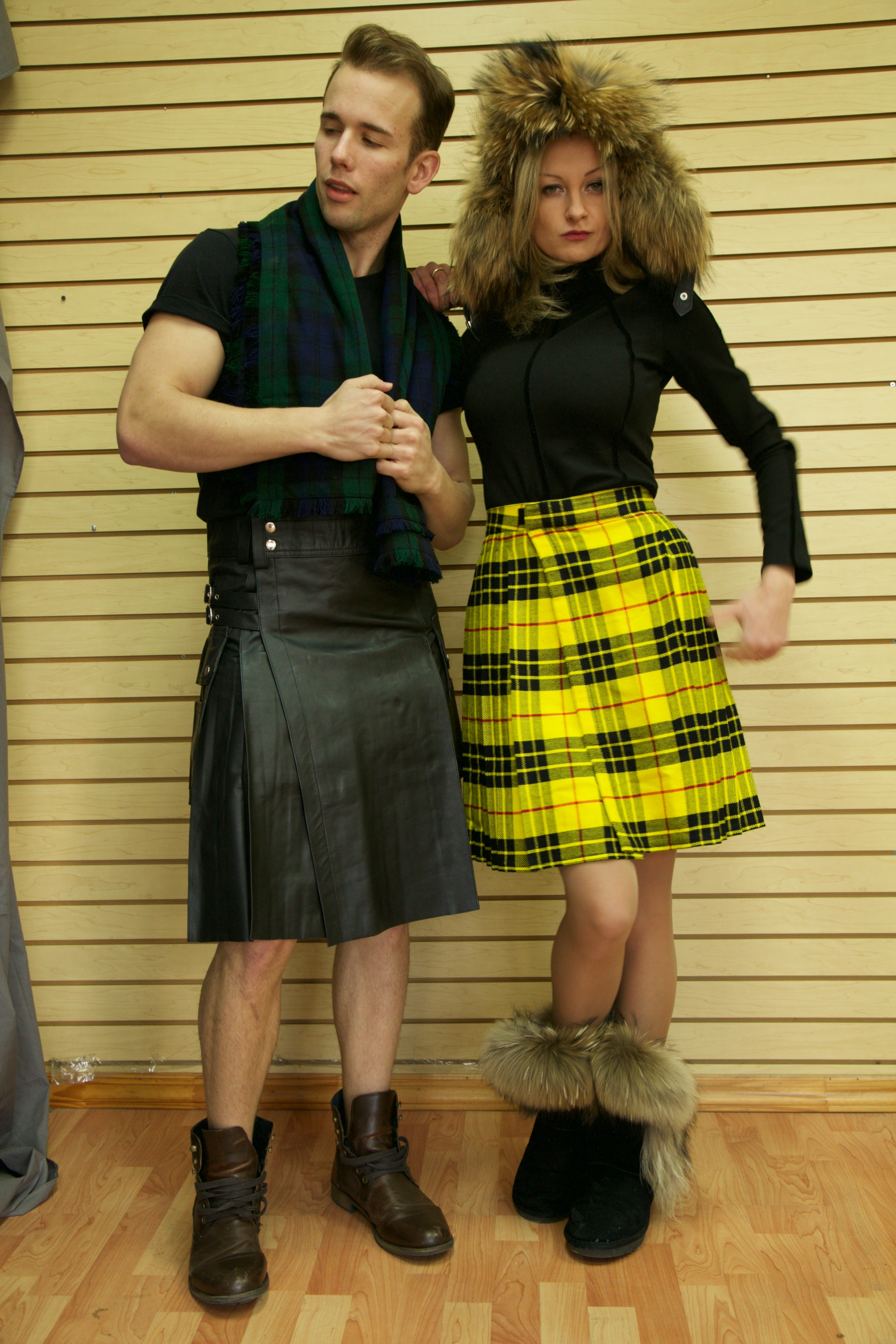 Leather Kilt with Twin Cargo Pockets front