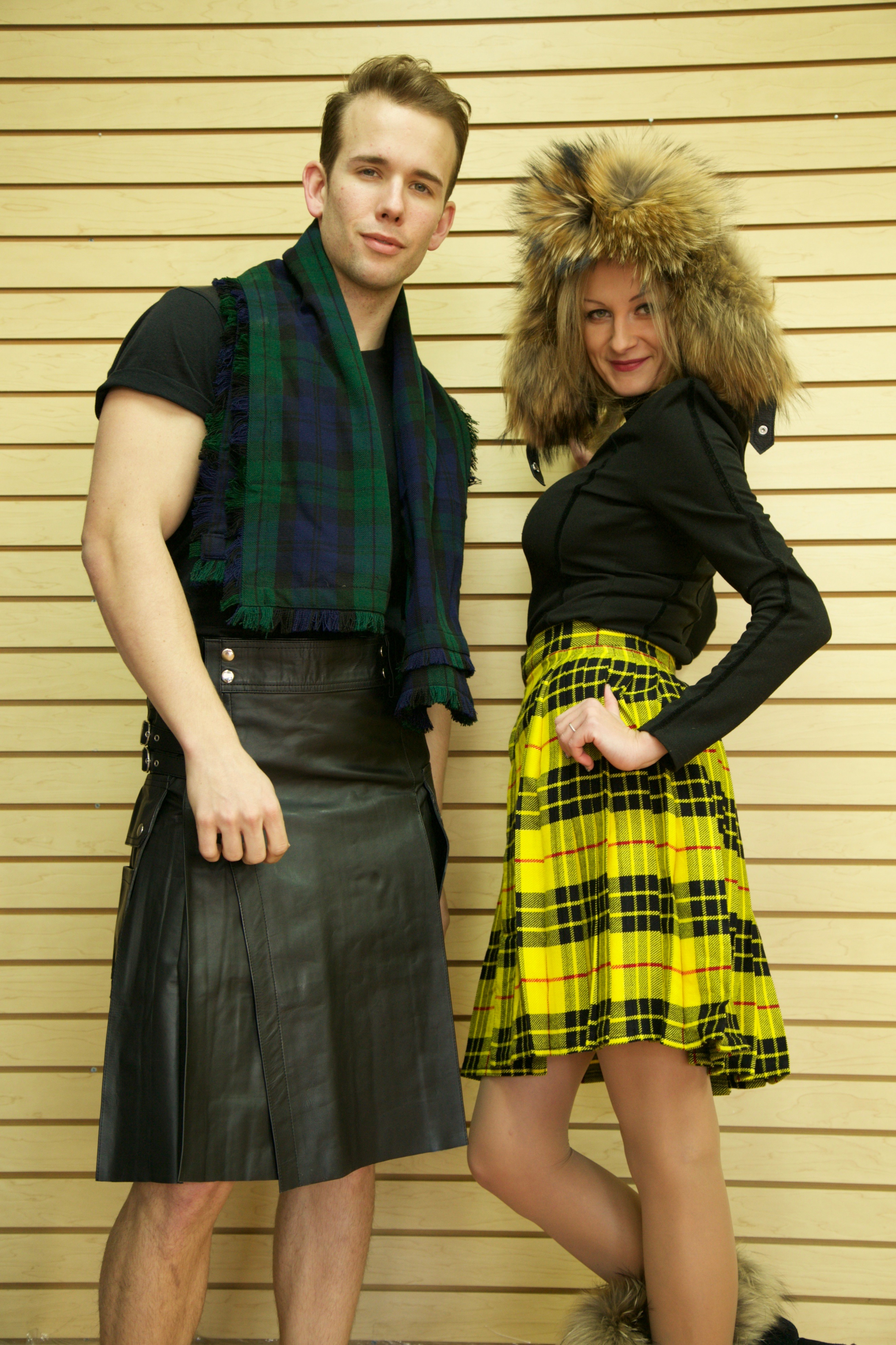Leather Kilt with Twin Cargo Pockets right