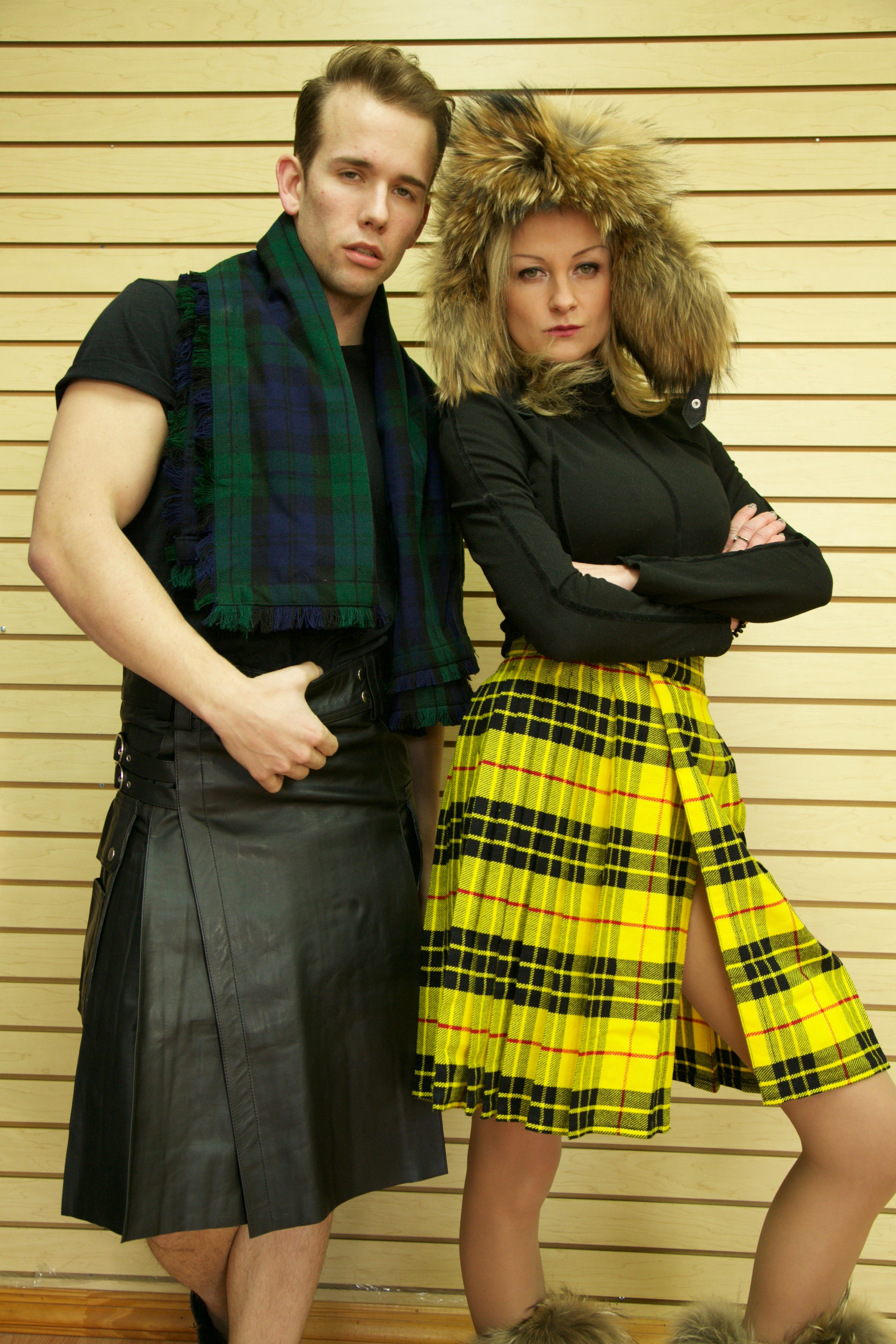 Leather Kilt with Twin Cargo Pockets-Right