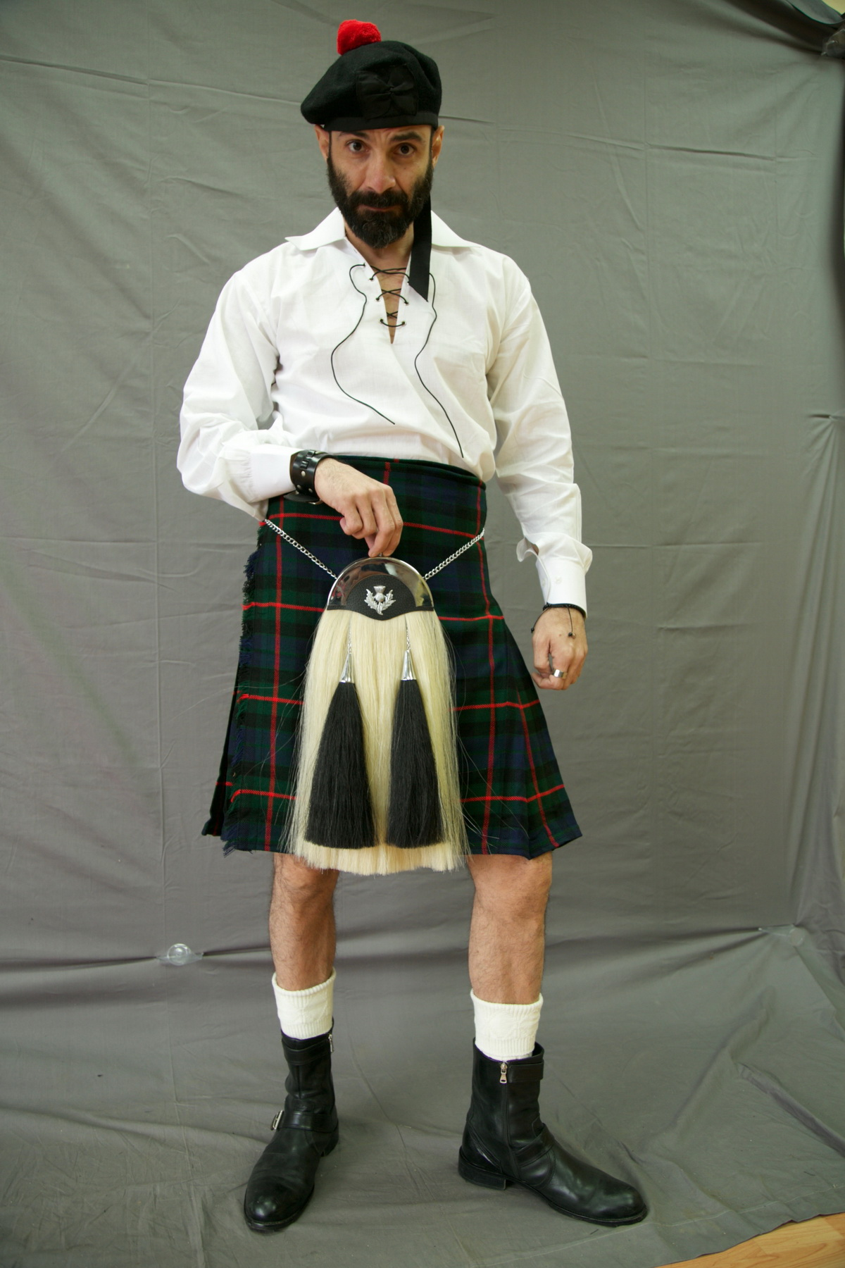 Barclay Hunting Modern Tartan Kilt with Sporran pose
