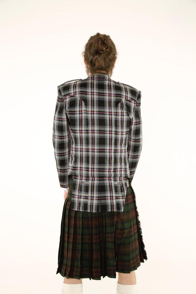 Prince Charlie Tartan Jacket and Utility Kilt Outfit Back