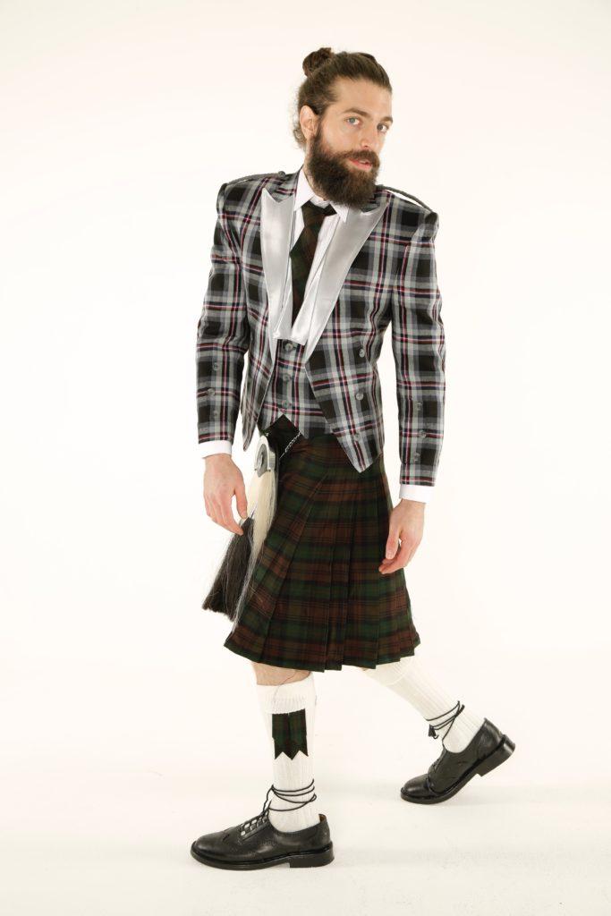 Prince Charlie Tartan Jacket and Utility Kilt Outfit left