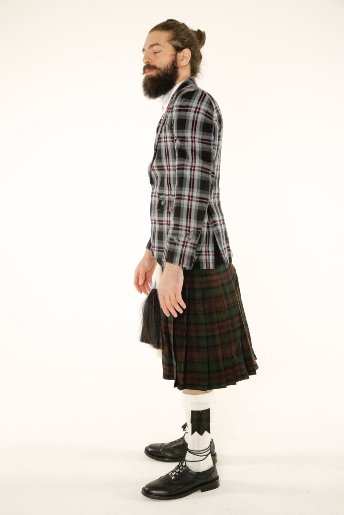 Prince Charlie Tartan Jacket and Utility Kilt Outfit leftside