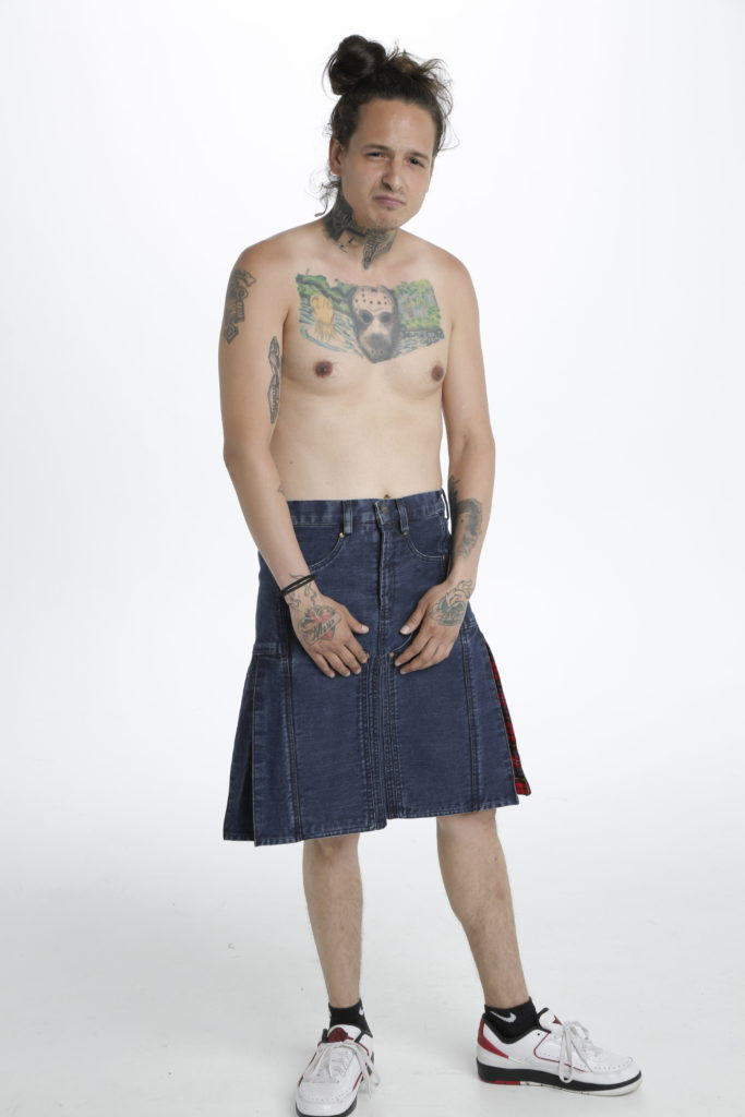 Denim Tartan Hybrid Pant Kilt front
