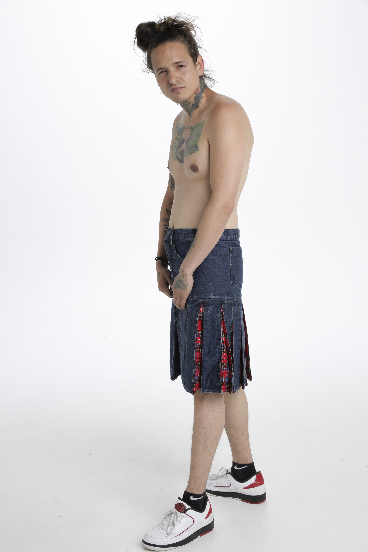 Denim Tartan Hybrid Pant Kilt left