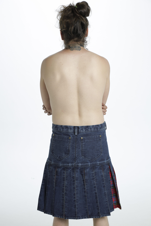 Denim Tartan Hybrid Pant Kilt back