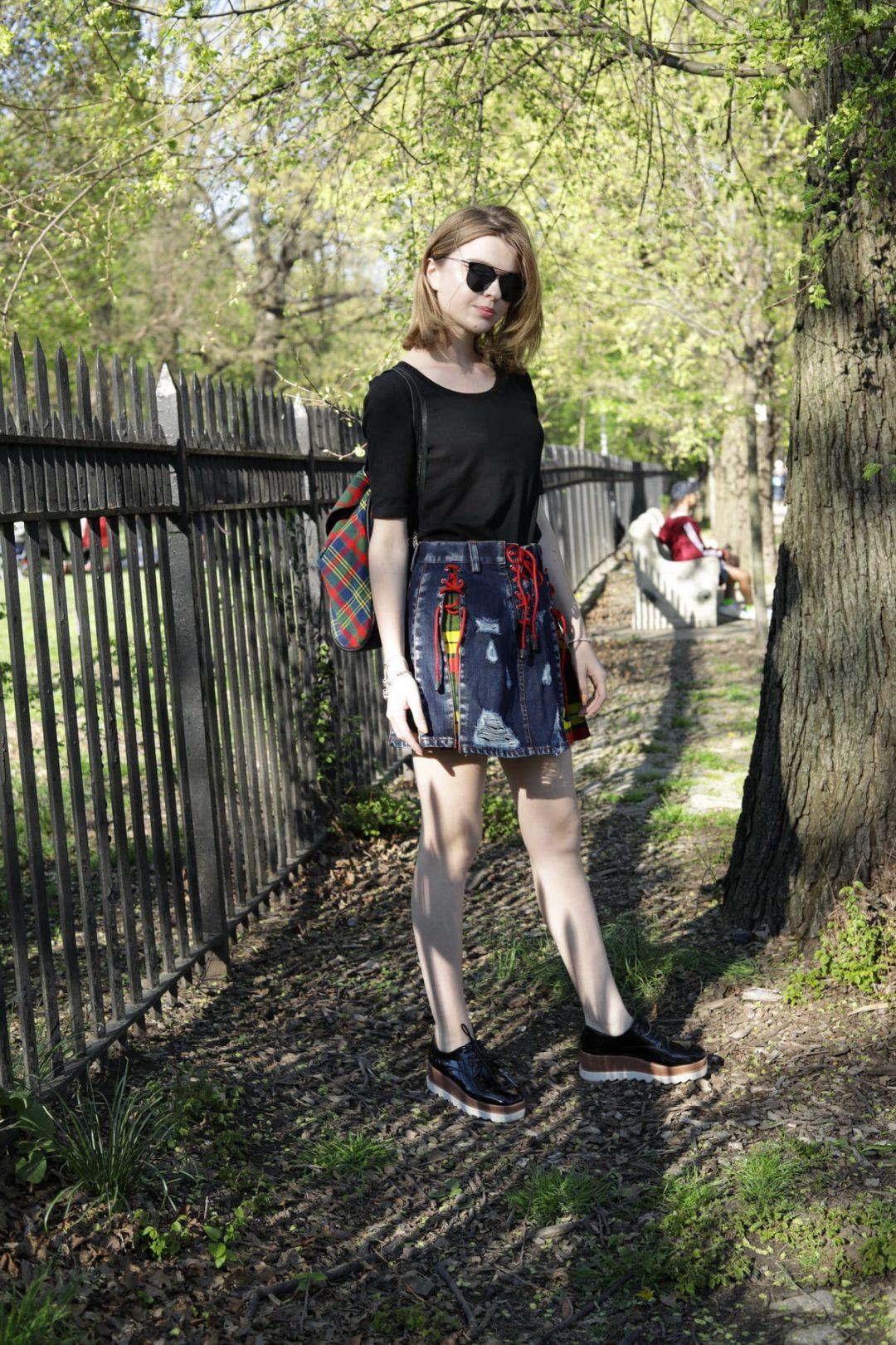 Stylish Denim Tartan Skirt