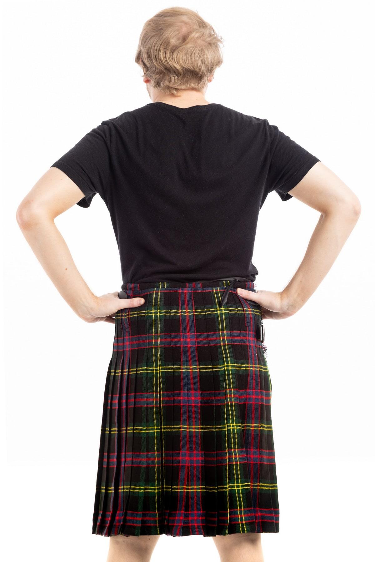 decent black tartan kilt-back