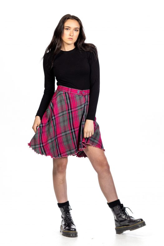 Tartan Skirt With Front Buttons