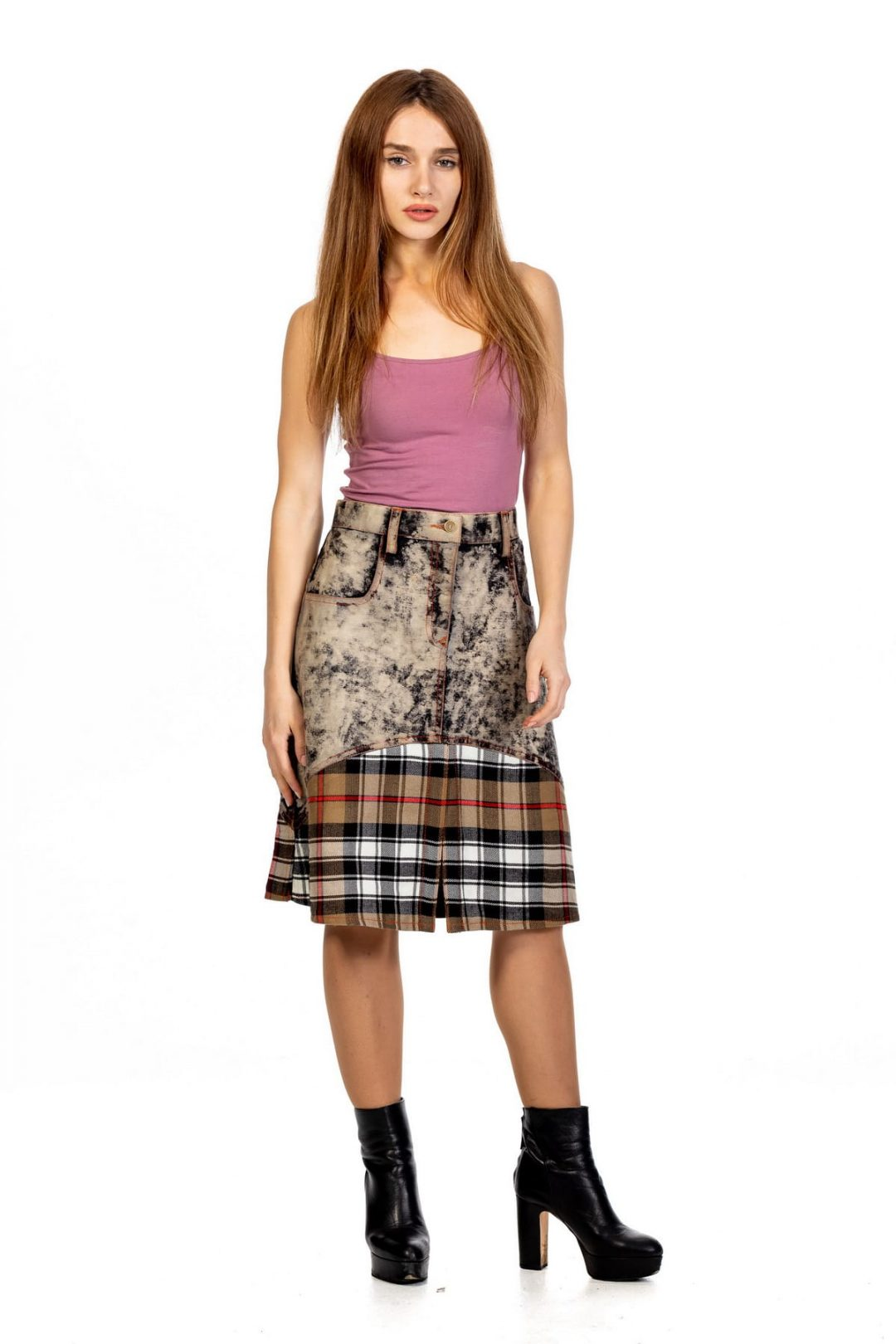 Denim Tartan Skirt For Decent Girl